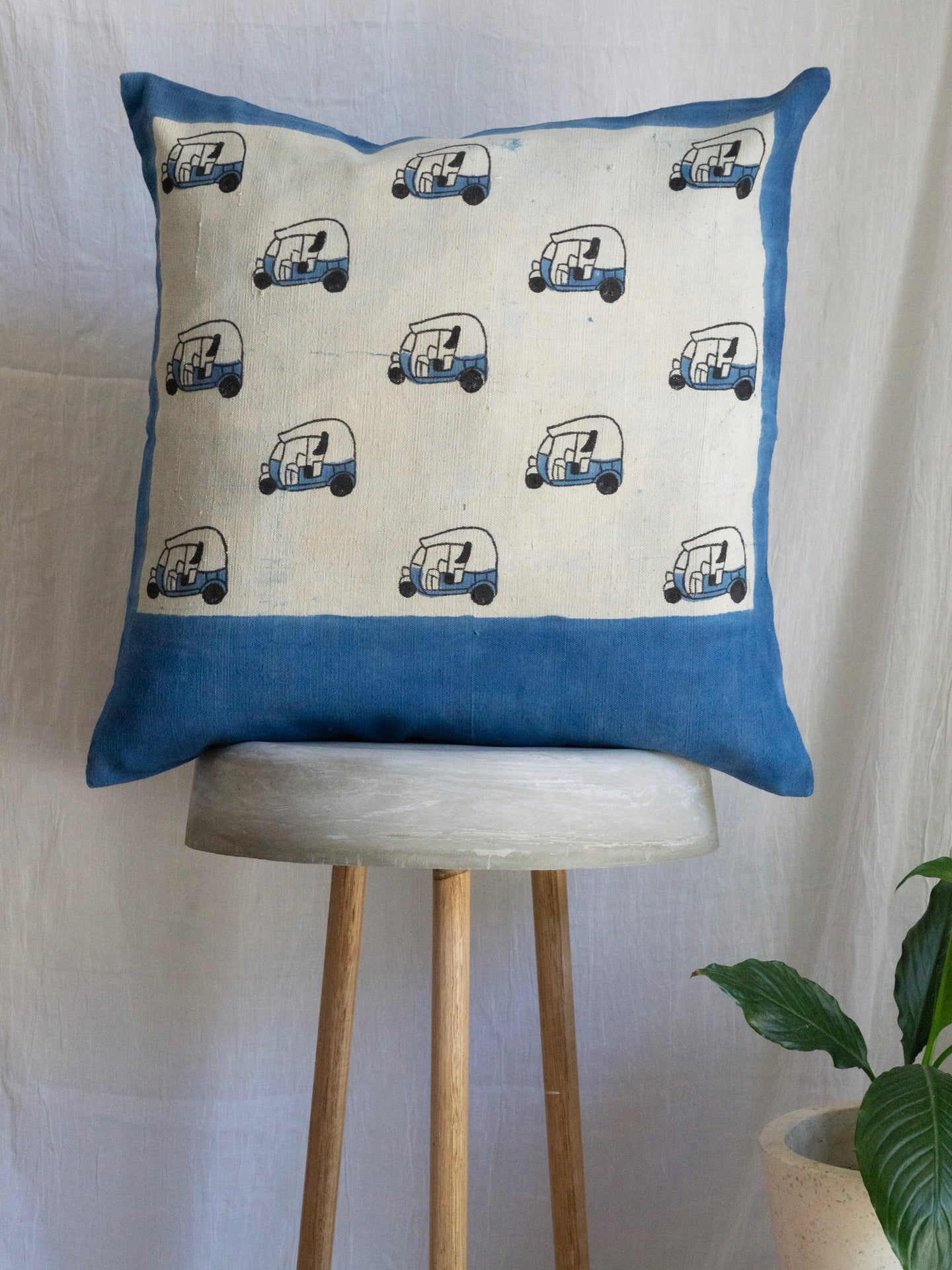 Linen Cushion Cover With Tuk-Tuk
