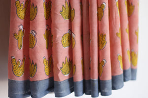 SAREE - Cactus in Peach & Yellow