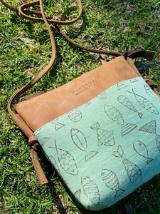 Leather Canvas Fish Sling Bag