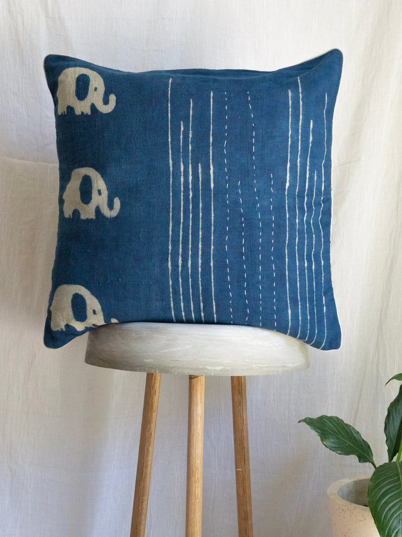 Linen kantha Cushion With Elephants