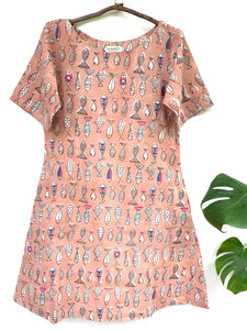 Peach Fish Dress with Hand Embroidery