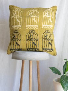 Linen kantha Cushion Cover With Cage