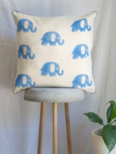 Load image into Gallery viewer, Linen Cushion Cover With Elephants