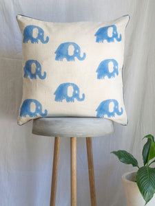 Linen Cushion Cover With Elephants