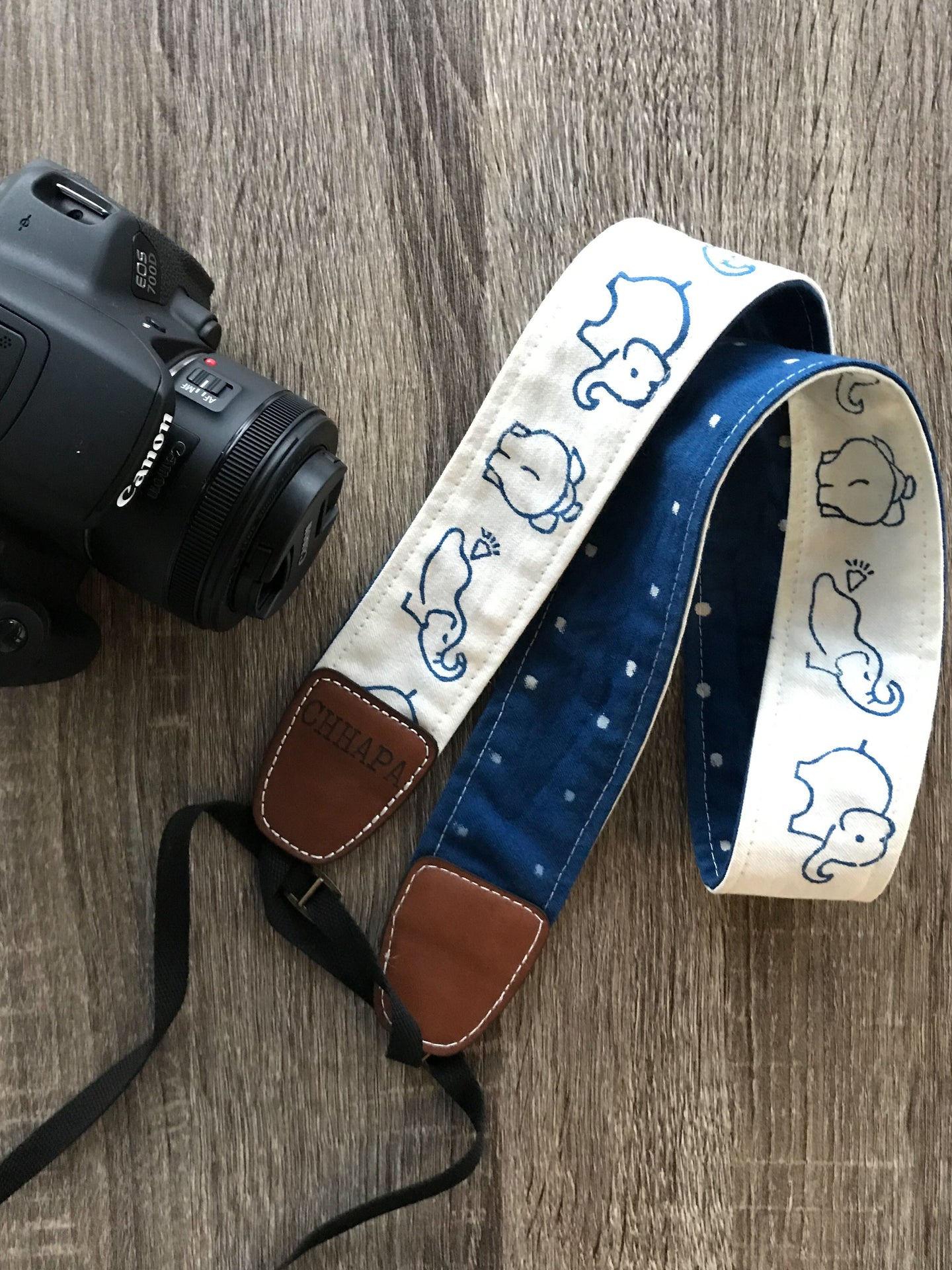 Camera Strap with White Elephants