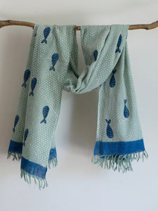 Khadi Mint Scarf With Fishes