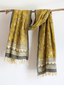 Khadi Mustard Scarf With Fishes