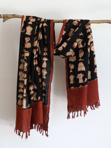 Khadi Scarf With Cartoon Family
