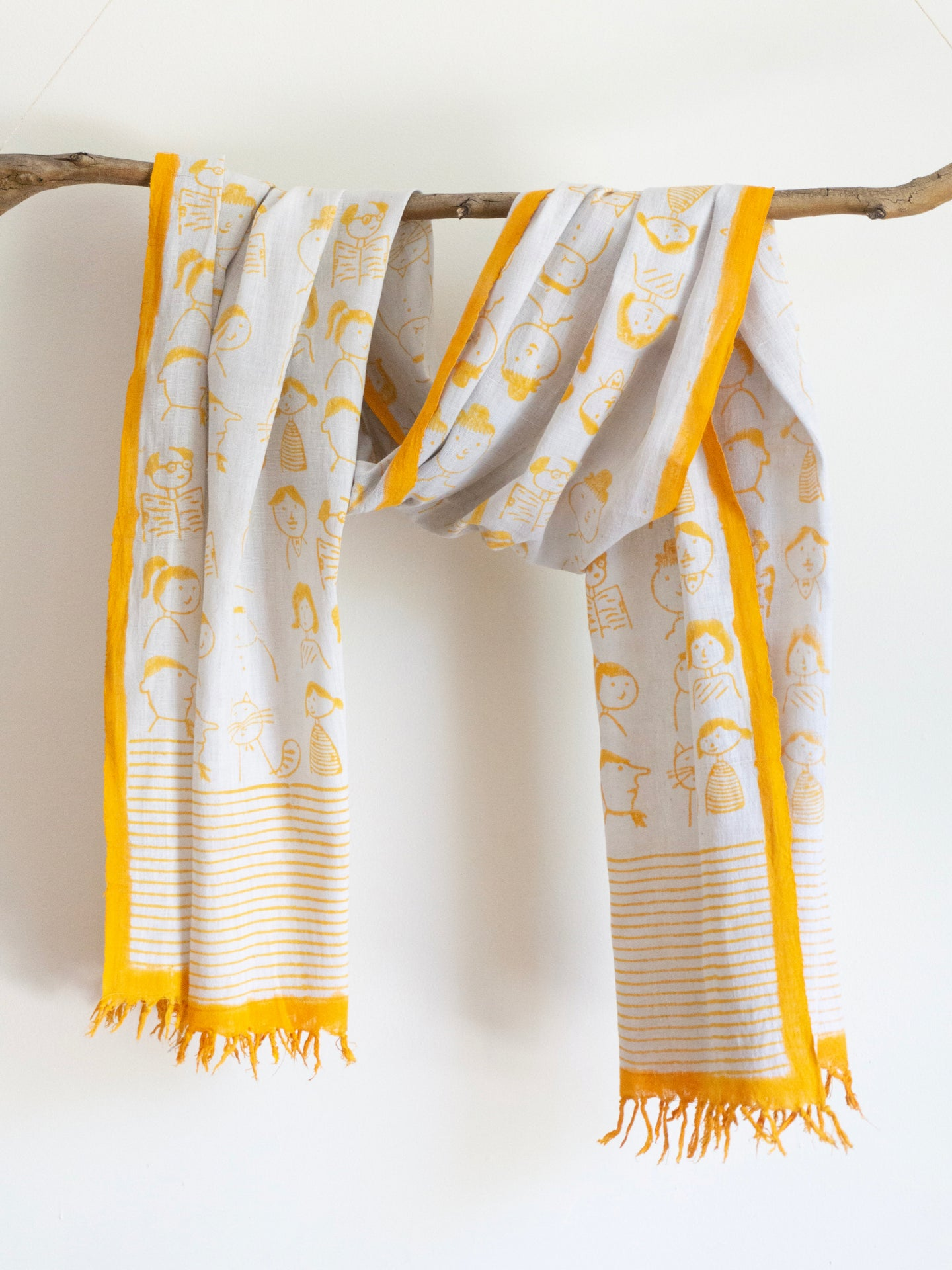 Khadi Yellow Scarf With Cartoons