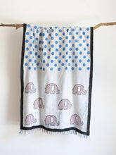 Load image into Gallery viewer, Khadi Scarf With Elephants & Polkas