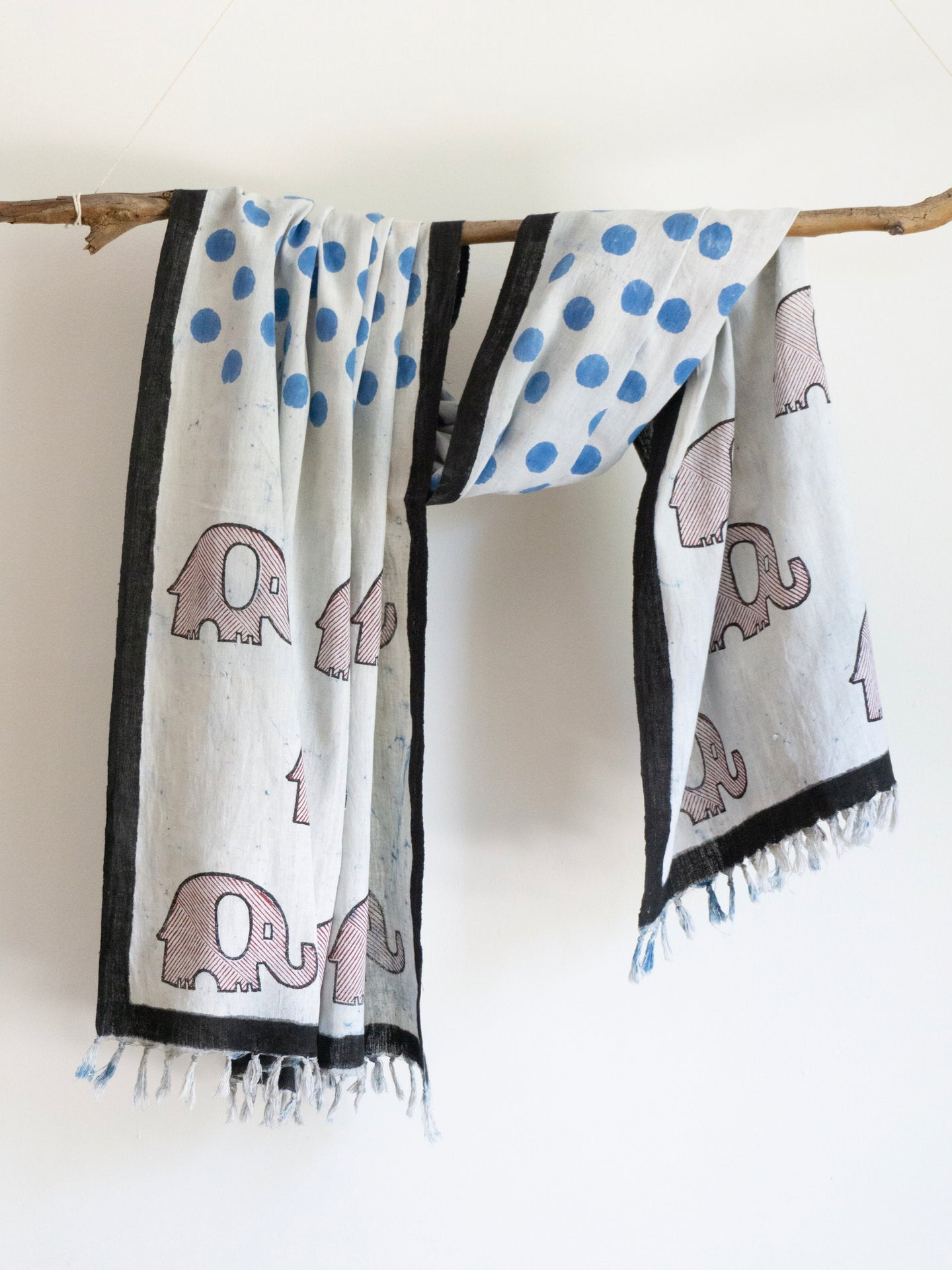 Khadi Scarf With Elephants & Polkas