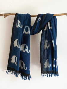Khadi Scarf With Elephant