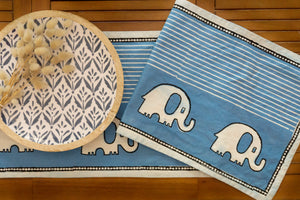 Light Indigo Runner With Elephants