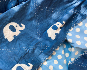 Kantha Quilt With Elephants