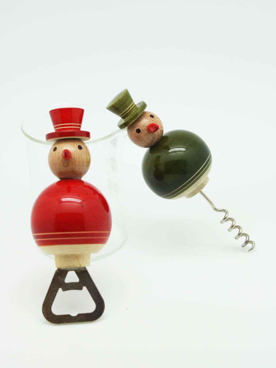 FLAKY SNOWMAN bottle-cork openers (a pair)