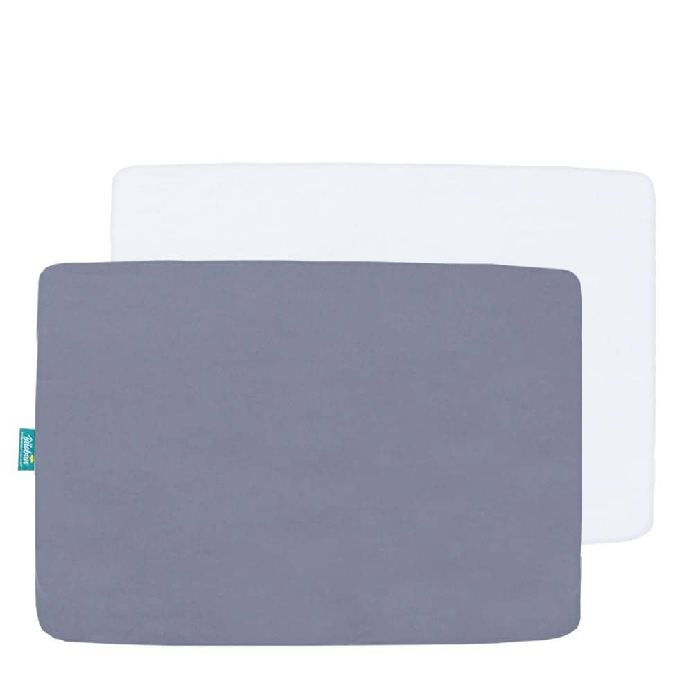 Playard Sheets - Ultra Soft Microfiber, Grey & White, 2 Pack (for pack n play 39''x27'') - Biloban Online Store