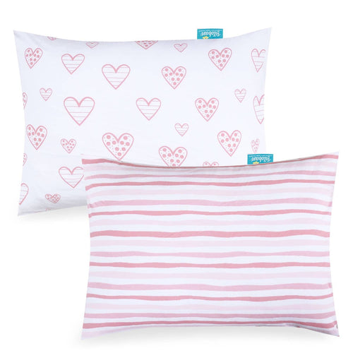 Toddler Pillowcase- 2 Pack, Ultra Soft 100% Jersey Cotton, Envelope Style, Heart Print, Pink - Biloban Online Store