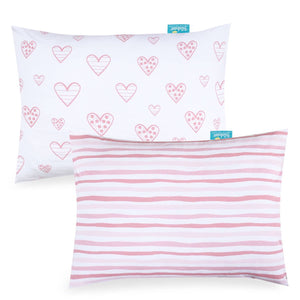 Toddler Pillowcase for Baby Girls - 2 Pack, Ultra Soft 100% Jersey Cotton, Envelope Style - Biloban Online Store