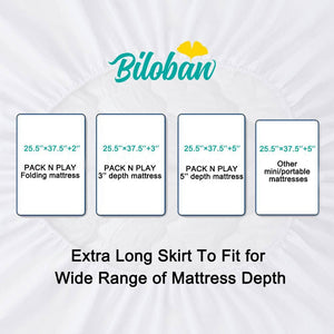 "Biloban Waterproof Pack N Play Mattress Pad/ Protector, Ultra Soft Microfiber - Grey (for Mini Crib 39""x27"") - Biloban Online Store"