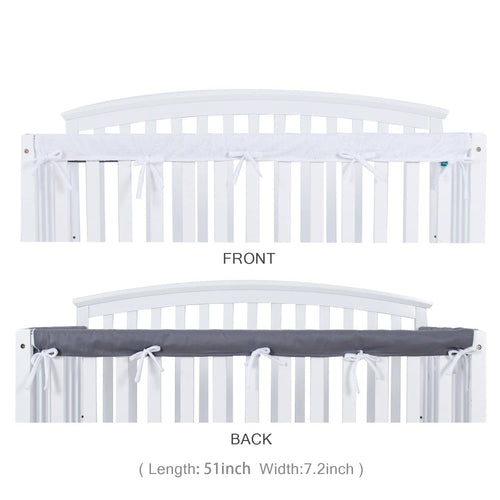 Biloban Crib Rail Cover Protector Safe Teething Guard Wrap for Long Front Crib Rails - White & Grey - Biloban Online Store