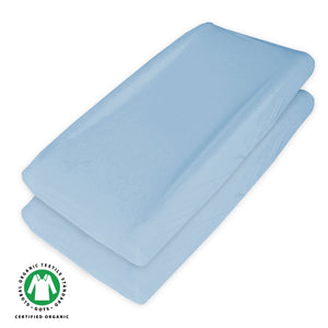 Organic Cotton Changing Pad Covers - 2 Pack, Light Blue - Biloban Online Store