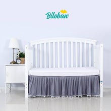 Load image into Gallery viewer, Biloban Grey Crib Skirt Pleated with Lovely Pompoms, Bedding Dust Ruffle