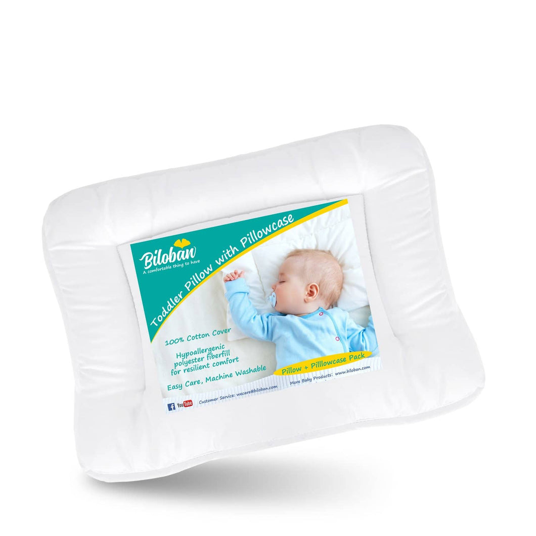 Toddler Pillow with Pillowcase-100% Cotton, Flat, Fluff, Wide, 13