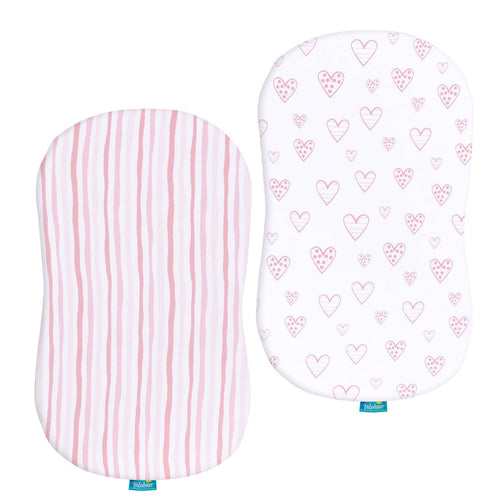 Breathable and Heavenly Soft,Pink Stripes and Hearts Print for Baby Girl 100/% Jersey Knit Cotton Fitted Sheets Biloban Bassinet Fitted Sheets Compatible with SwaddleMe by Your Side Sleeper 2 Pack