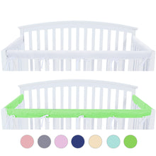Load image into Gallery viewer, 3 Pieces Crib Rail Cover- Protector Safe Teething Guard Wrap , Green & White - Biloban Online Store