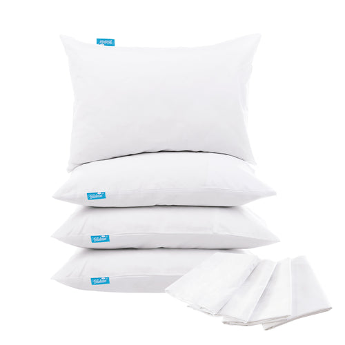 4 Pack Pillow Protectors - Polyester Knitted Fabric, Zippered,100% Waterproof, White - Biloban Online Store