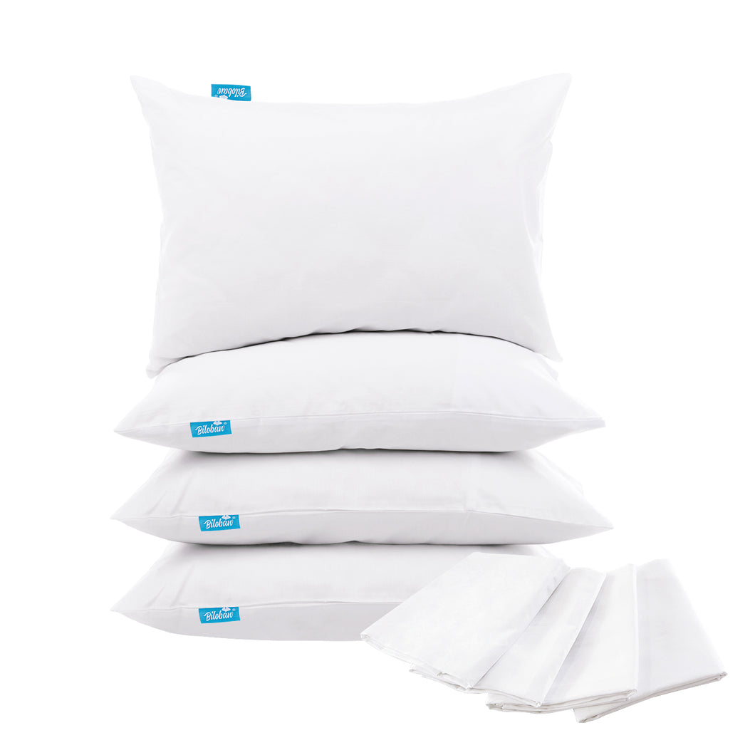 4 Pack Pillow Protectors Standard 20 x 26 inches 100% Waterproof Pillow Protector for Sleeping Noiseless Breathable Zippered Pillow Covers White