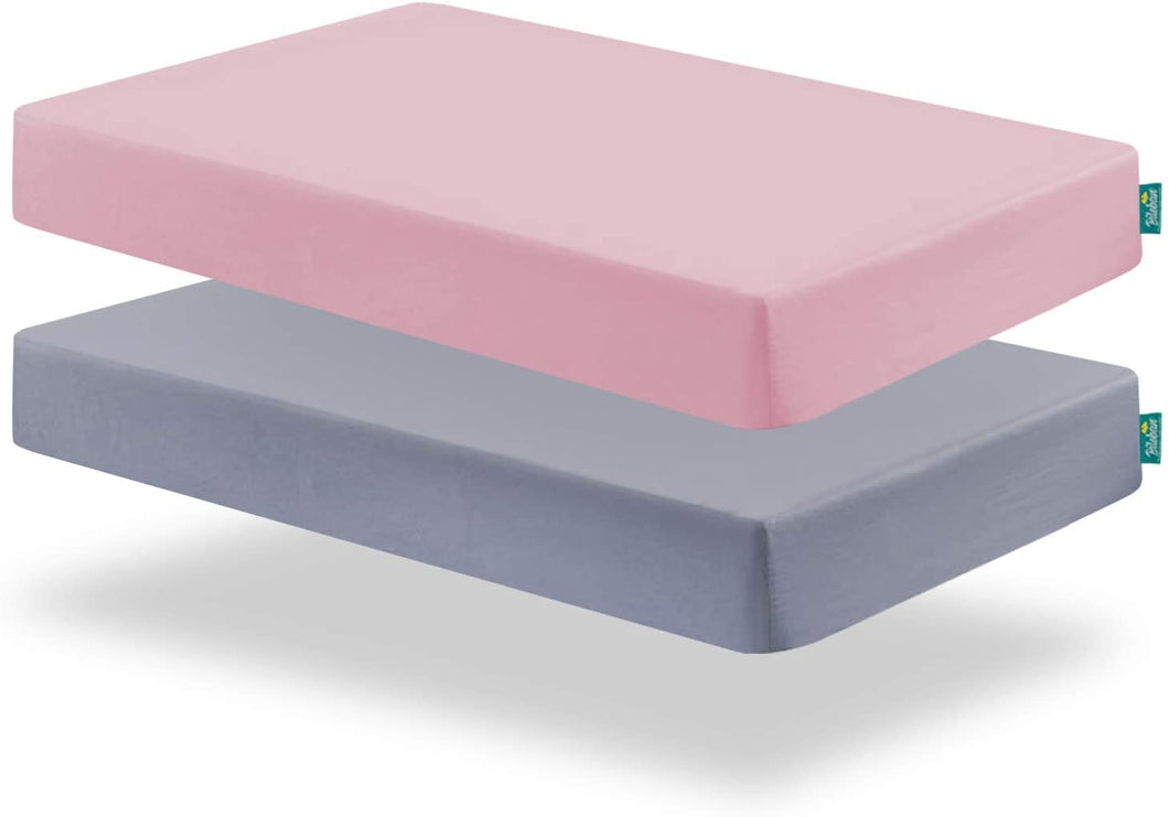 Crib Sheets - 2 Pack, Microfiber, Grey & Pink ( for Standard Crib 52