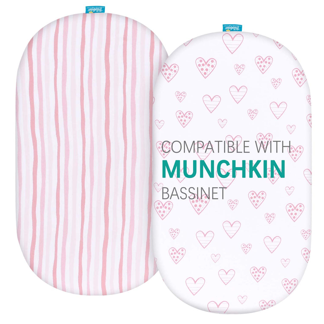 Bassinet Fitted Sheets Compatible with Munchkin Brica Fold N' Go Travel Bassinet, 2 Pack - Biloban Online Store