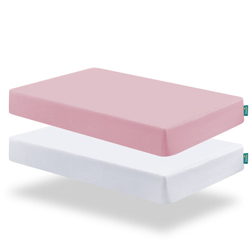 Crib Sheets - 2 Pack, Microfiber, White & Pink ( for Standard Crib 52