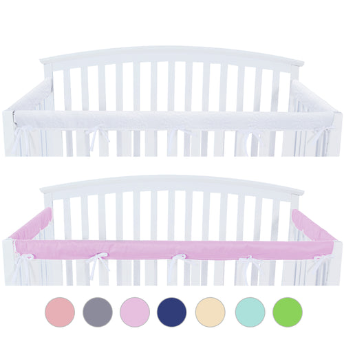 3 Pieces Crib Rail Cover- Protector Safe Teething Guard Wrap , Lavender & White - Biloban Online Store