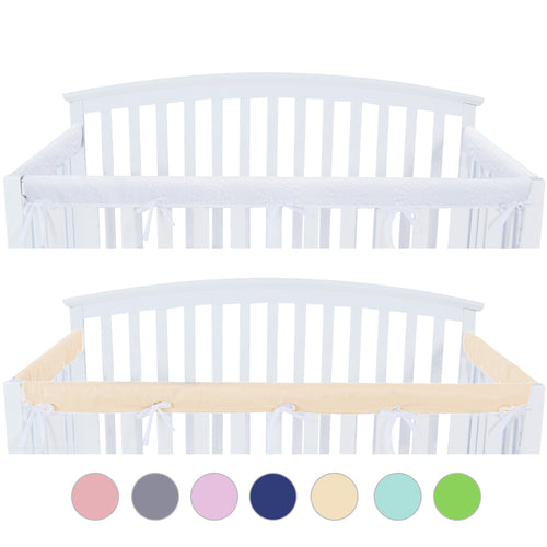 3 Pieces Crib Rail Cover- Protector Safe Teething Guard Wrap , Yellow & White - Biloban Online Store
