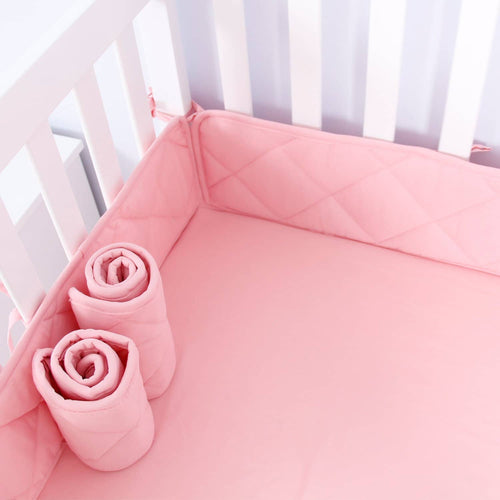 Biloban Mini Crib Bumper Pads - Pink (for Portable Mini Cribs 24