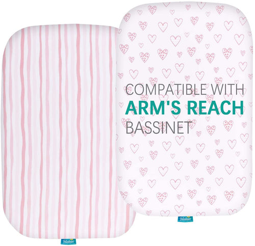 Bassinet Fitted Sheets Compatible with Arm's Reach Mini Ezee 2 in 1 Co-sleeper Bassinet, 2 Pack - Biloban Online Store