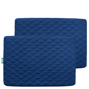 "Pack n Play Sheet Quilted 2 Pack, 39"" x 27"" Waterproof Mini Crib Mattress Pad Protector, Premium Playard/Playpen Mattress Sheet Cover, Navy Blue - Biloban Online Store"