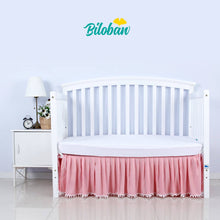 Load image into Gallery viewer, Biloban White Crib Skirt Pleated with Lovely Pompoms, Bedding Dust Ruffle - Biloban Online Store