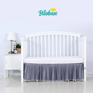 Biloban White Crib Skirt Pleated with Lovely Pompoms, Bedding Dust Ruffle