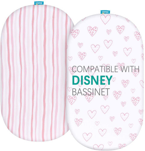 Bassinet Fitted Sheets Compatible with Disney Baby Ultimate Sweet Beginnings Bedside Bassinet, 2 Pack - Biloban Online Store
