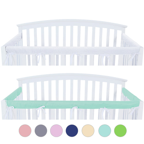 3 Pieces Crib Rail Cover- Protector Safe Teething Guard Wrap , Aqua & White - Biloban Online Store