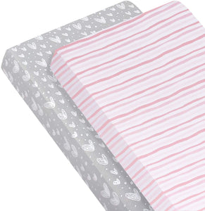 Crib Sheets, 100% Cotton Toddler Fitted Sheets for Girl - Biloban Online Store