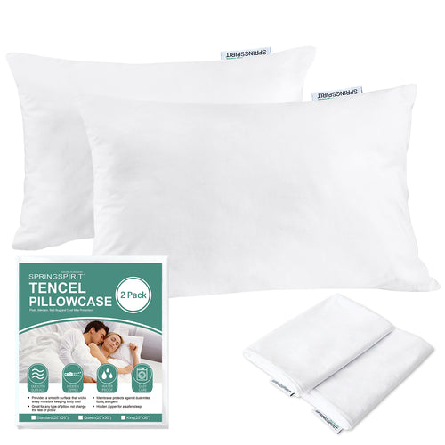 SPRINGSPIRIT Tencel Waterproof Zippered Pillow Protectors,Hypoallergenic Pillow Covers,Set of 2 - Biloban Online Store
