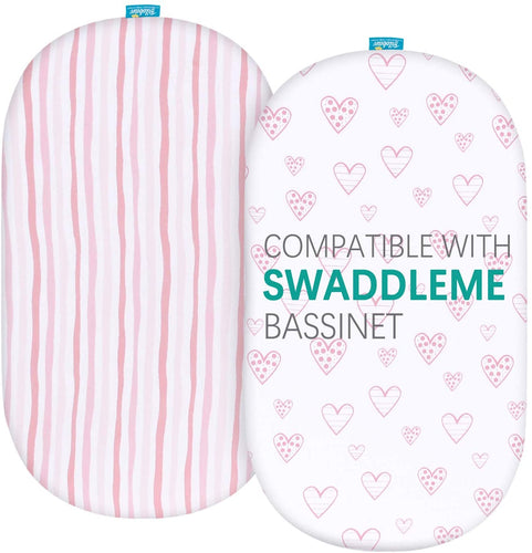 Bassinet Fitted Sheets Compatible with SwaddleMe by Your Side Sleeper, 2 Pack - Biloban Online Store