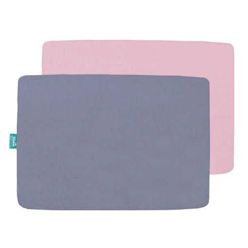 Pack n Play Sheet Fitted, 2 Pack Portable Playard | Mini Crib Sheets, Ultra Soft Microfiber Pack N Play Sheets, Gray & Pink, Preshrunk - Biloban Online Store