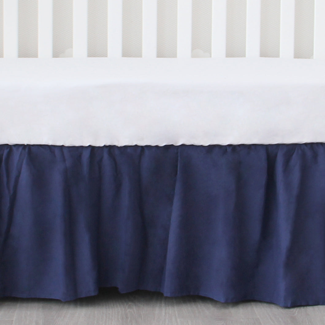 Navy Crib Skirt Four Fabric Sides Elastic Wrap Around Dust Ruffled Solid Bed Skirts Easy On/Easy Off, Bedding Dust Ruffle for Baby Girls and Baby Boys, Fit All Standard