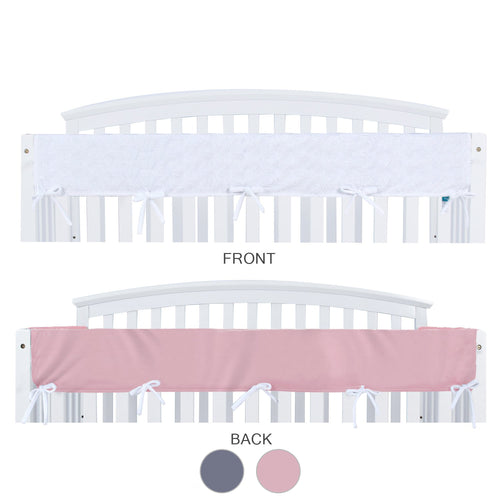 Crib Rail Cover - Wide, Long Side, Pink & White - Biloban Online Store