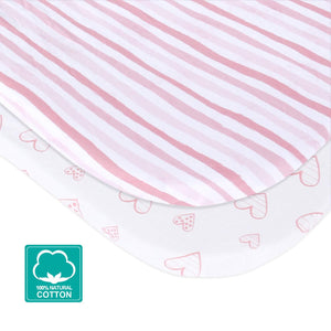 Bassinet Fitted Sheets Compatible with Fisher-Price Bassinet- 2 Pack Cotton - Biloban Online Store